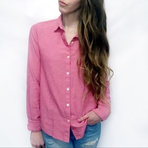 UO BDG Pink Cotton Classic Button Down Top